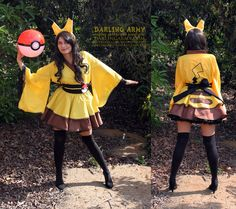 Pikachu Cosplay   Darling Army Cosplay Aprons and Pinafores creates gorgeous kimono style dresses and it's impossible to pick a favorite. Pikachu is in the running for me though! See the rest of their adorable collection but be warned…this shop is addictive!