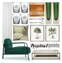 """""""home tropics"""" by foundlostme ❤ liked on Polyvore featuring interior, interiors, interior design, home, home decor, interior decorating, CB2, BYRON, Williams-Sonoma and William Stafford"""