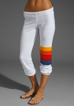 Rainbow Stitch Sweat Pant in White by Aviator Nation