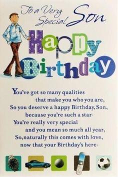 Happy Birthday Wishes Boy, Birthday Messages For Son, Birthday Verses For Cards, Son Birthday Quotes, Birthday Card Sayings, Sons Birthday, Birthday Msgs, Card Birthday, Birthday Greetings