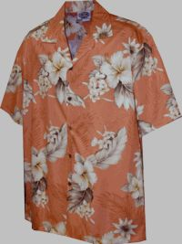 Men's Plumeria Hibiscus<br> Hawaiian Aloha Shirt (Peach)<br>Matching chest pocket<br>100% Cotton<br>
