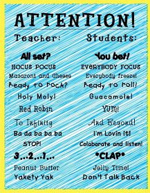 Sparking Student Motivation: Whole Brain Teaching. This tool encourages entire class engagement and immediate focus. There are other great examples of whole brain teaching that also include actions and singing. Classroom Fun, Future Classroom, Classroom Organization, Classroom Chants, Classroom Procedures, First Grade Classroom, Classroom Resources, Classroom Control, Elementary Classroom Themes