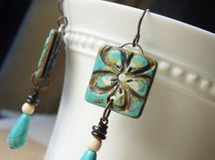 turquoise and green polymer clay   Polymer Clay Earrings featuring Seaside Turquoise, White ...   ETSY l ...