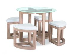 The Quarry Dining Set is a compact dining table and stool chair set. It features a glass top table with a Beech effect frames. Compact Dining Table, Glass Round Dining Table, Small Dining Area, Extendable Dining Table, Dining Set, Round Glass, Space Saving Dining Table, Dining Room Chairs, Dining Room Furniture