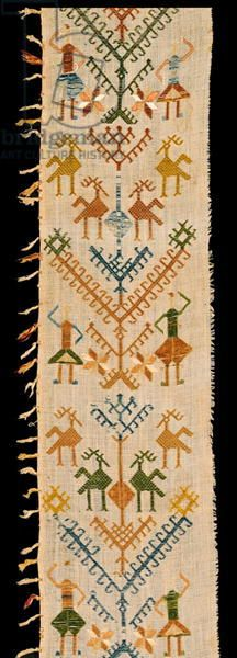 Border decorated with a Tree of Life, from Siphnos, Cyclades, 17th-18th century (cotton embroidered with silk threads)