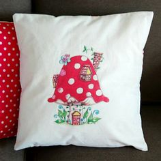Toadstool Cushion Cover. Artist Cushion. Toadstool Cushion. Mushroom Cushion. Fairy Cushion. Linen. Calico. Toadstool House. by SueRocheIllustration on Etsy https://www.etsy.com/listing/254819852/toadstool-cushion-cover-artist-cushion