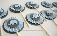 Baby Blue and Gray Baby Elephant Rosettes Cupcake Toppers- Elephant Baby Shower Decorations..Set of 12