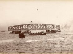 Let's take a trip back 131 years to the building of the second Tay Bridge. Here are the girders being moved into place. Dundee City, Sydney Harbour Bridge, Bridges, Old Photos, Scotland, History, Building, Places, Travel