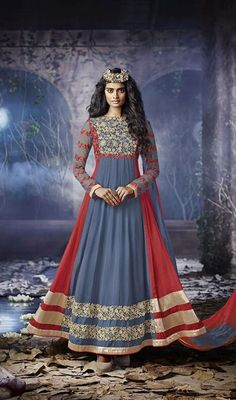 Enhance your simplistic charm draped in this pale blue and red georgette embroidered long Anarkali suit. That you can see some intriguing patterns carried out with floral patch, lace, resham and stones work. #NewDesignCasualDresses