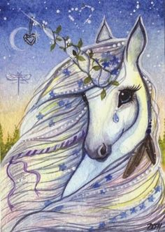 Pretty unicorn illustration - the style reminds me of the Serendipity books