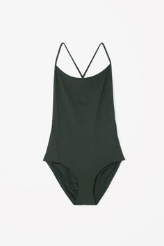 Cross-over swimsuit in Forest Green