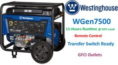 Top power Tools review of the Westinghouse WGen7500 portable generator Gas Generator, Portable Generator, Transfer Switch, Electrical Outlets, Fuel Economy, Power Tools, Top Rated, Electrical Tools