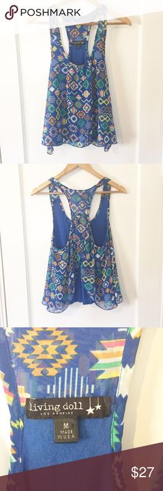"""Sheer Blue Printed Tank In Good Condition/ Great to add to a bundle/ Bust: 17"""" Length: 23"""" Tops Tank Tops"""