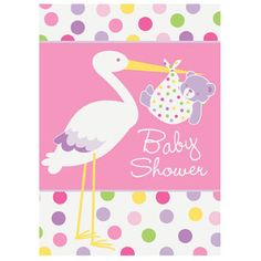 Bring your baby boy into the world with whimsical style. Family and friends will be happy to receive the Baby Boy Stork Invitations. The cards feature a trendy, polka dot pattern behind a blue band which displays a fun print of a stork with a baby teddy b Budget Baby Shower, Baby Shower Party Supplies, Baby Shower Fun, Baby Shower Favors, Baby Shower Parties, Fun Baby, Shower Gifts, Baby Stork, Stork Baby Showers