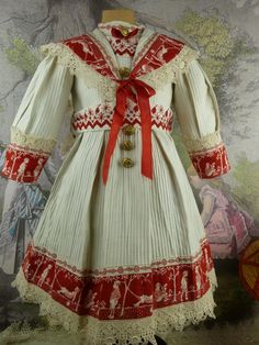 Wonderful white and red pique French sailor dress with matching straw hat