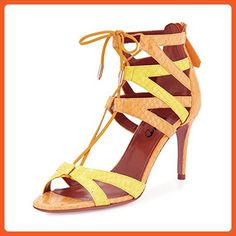 XYD Street Strappy Lace Up Sandals High Heel Open Toe Stilettos Sexy Hollow Women Pump Shoes Size 9 Yellow - Sandals for women (*Amazon Partner-Link)