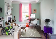 Eclectic Living Room by Amberth London Living Room, Room London, Little Greene, Short Curtains, Pinterest Design, Eclectic Living Room, Craftsman Bungalows, Two Bedroom, Decoration