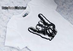 unisex punk baby clothes   Punk Baby onesie - Rocker / Metal hand gesture in a 3 month white ...
