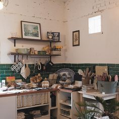 -갖고싶은 공간 #잼머의집 Home Kitchens, Green Interiors, Sweet Home, Home And Living, Cafe Interior, Home Decor, House Interior, Home Deco, Interior Decorating