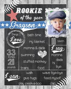 Rookie of the Year Birthday Chalkboard Sign -First Birthday Sign DIY Printable File Customizable Colors and Sport Baseball Birthday Party, First Birthday Chalkboard, Baby Boy First Birthday, Birthday Thank You, Birthday Bash, First Birthday Parties, First Birthdays, Birthday Signs, Birthday Ideas