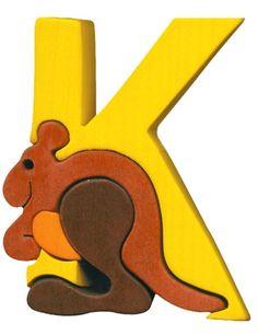 Montessori Waldorf wooden puzzle letter Kenguru made by Ludimondo