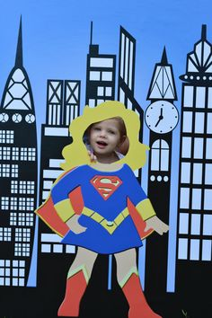 Super Girl Photo Prop  Printable Super Hero Party by LMPhotoProps