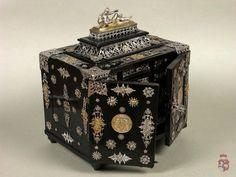 Small cabinet. Place of origin: Germany, Augsburg. Date of origin: 1595 – 1600. Ebony, gold decoration. 22.7 x 18.5 cm. -Czartoryski Museum in Krakow-