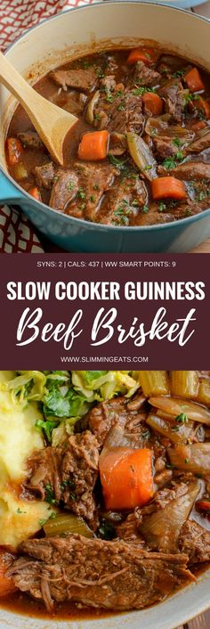 Melt in your mouth Low Syn Slow Cooker Guinness Beef Brisket - a delicious rich hearty dish that is pure comfort in a bowl. Dairy Free, Slimming World and Weight Watchers friendly Beef Brisket Recipes Crockpot, Beef Brisket Slow Cooker, Crock Pot Slow Cooker, Healthy Crockpot Recipes, Beef Recipes, Slow Cooker Recipes Uk, Slow Cooker Kitchen, Bbq Beef, Healthy Dinners