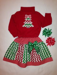 Red Long Sleeve Chevron Appliqué Tree T and by littlehcdesigns