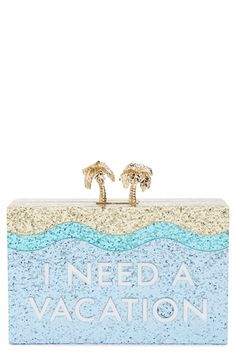 Free shipping and returns on kate spade new york 'i need a vacation' box clutch at Nordstrom.com. Every occasion is an unforgettable vacation with this resplendent box clutch awash in oceans of sun-drenched glitter. Twin golden palm trees anchor the magnetic clasp, opening to reveal a luxe jacquard lining and room for your on-the-town essentials.