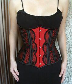 ROYAL 08: Underbust em shantung de seda pura vermelho com bone casings, recoberto por renda bordada com apliques.