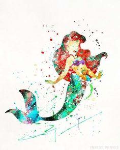 Ariel, The Little Mermaid Type 1 Print The Little Mermaid Poster, Ariel The Little Mermaid, Arte Disney, Disney Art, Watercolor Disney, Watercolor Paintings, Mermaid Disney, Mermaid Princess, Cute Captions