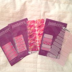 5 packages of pink JAMBERRY nail wraps! Brand new!! Different shades of pink designs! Other