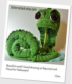 Crochet Pascal the Chameleon Hat and Tail Costume
