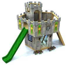 """The """"King Author's Castle Plan.""""  WIth 2 levels, rock wall, room for slide and a trap door, it's perfect for those with small yards, small budgets and moderate carpentry experience.  Kids will love it!  Download the plans today!"""