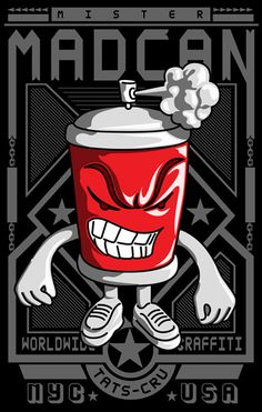 Mad Can studios .. Limited edition giclee print. Mad Can , son of Brim-1 TATs cru, Following in his fathers foot steps. Mr. Mad can , was born in  Hong Kong , His mother is from the Philippines , and His father from the Bronx NYC , Raised in  HONG KONG and New York , he has learned his craft over the years helping his father with is work and projects .. Now he steps up with his new collection of artwork and prints.. #graffiti #streetart #urbanart #prints