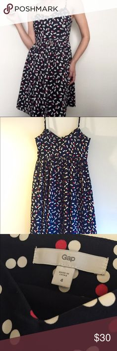 Gap polka dot shift dress Sateen polka dot strap shift dress size 4 - great material and flattering on any figure. Fully lined, adjustable straps, invisible zipper and pockets! Worn once. GAP Dresses Midi