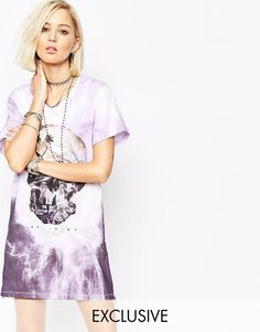 Religion T-Shirt Dress With Skull Palm Print In Tye Dye