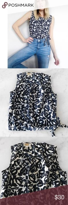Talbots Abstract Print Sleeveless Blouse in Navy Sleeveless printed blouse with tie hem and an allover abstract print in deep navy and white from Talbots. Features high neck and tie detail at hem // US size 6 // gently worn and EUC. Price as marked or best offer! Lovely and lightweight for airy, spring, summer looks  #tops #blouses #tank Talbots Tops Blouses