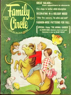 "Family Circle Cover & interior ""Animal Garden"", illustrated by Hilary Knight"