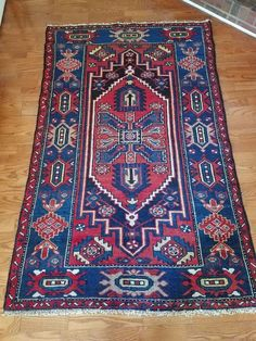 Vintage Hand knotted Iran Bakhtiar Wool Carpet Rug 4' x 6' Blue and Red Color #Persian
