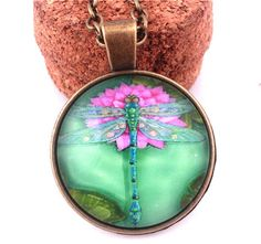New Cute Dragonfly Falls In Lotus Photo Dome Glass Vintage Bronze Chain Necklace #Handmade #Pendant