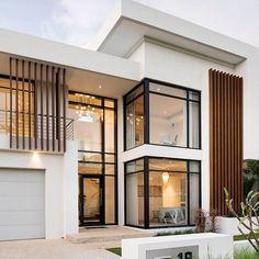 Sorrento custom built home by Oswald Modern House Facades, Modern Exterior House Designs, Dream House Exterior, Modern Architecture House, Modern House Design, Modern House Plans, Contemporary Home Exteriors, Modern Contemporary, Duplex House Design