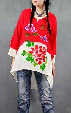 Kalen Peng/Kalens Art Couture - Flowers Blossoming blouse