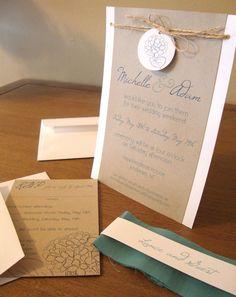Hydrangea Wedding Invitation - rustic, natural - Combinacion de kraft y lazo