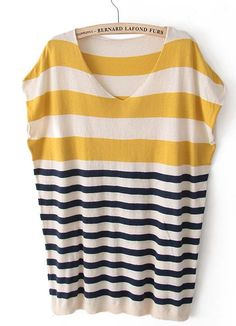 Yellow Striped Pullover Sweater