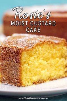 Rosie's Moist Custard Cake is a soft decadent cake that is perfect with some lemon cream cheese icing. It also freezes well and and tastes amazing! Custard Recipes, Baking Recipes, Dessert Recipes, Vanilla Custard Cake Recipe, Moist Cake Recipes, Moist Butter Cake Recipe, Custard Cream Cake, Custard Powder Recipes, Custard Cookies