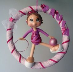 gymnast little girl in hoop...NO tutorial...made in clay