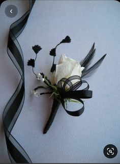 White Rose Boutonniere, Prom Corsage And Boutonniere, Corsage Wedding, Wedding Bouquets, Corsages, Prom Flowers, Bridal Flowers, Black Corsage, Bridezilla