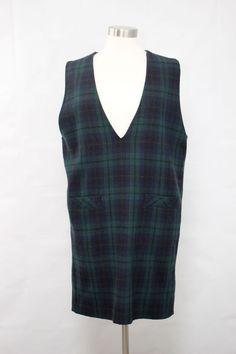 Vtg 80s Prophecy Blue & Green Wool Tartan Plaid Pocket Jumper Shift Dress Sz 12 #Prophecy #Shift